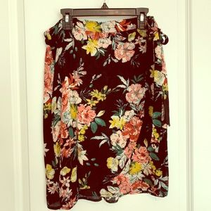 Black and floral wrap skirt size M- like new